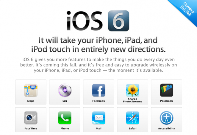 iOS 6 info page